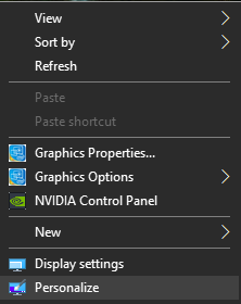 A screenshot of settings box in Windows 10