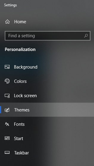 A screenshot of Themes settings in Personalization