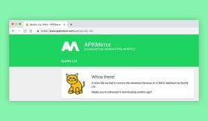 A screenshot of APK Mirror website