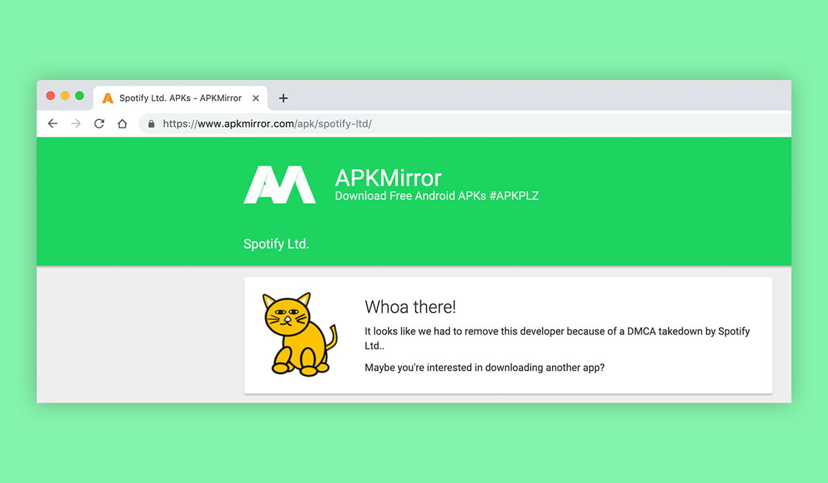 A screenshot of APK Mirror website