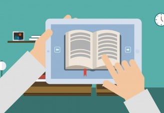An illustration of a tablet in hand with an ebook open, a person using an old tablet as an ebook reader