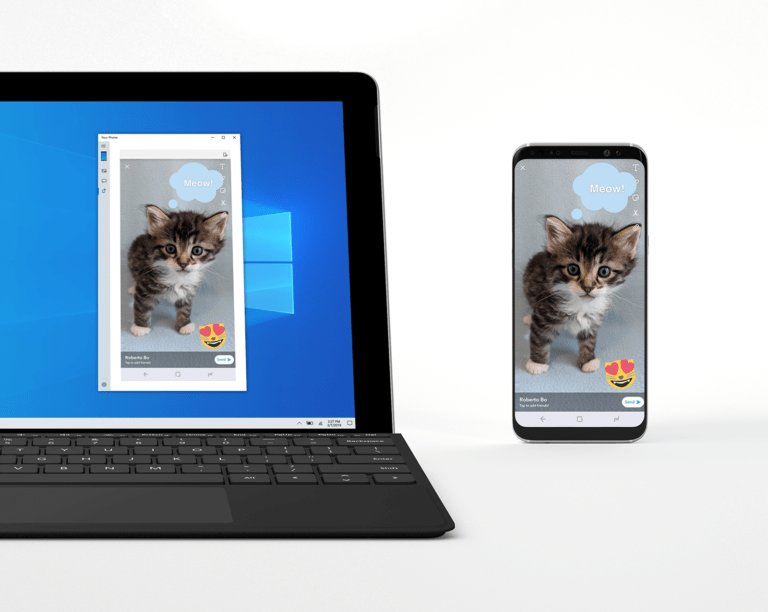 A snapshot of Windows' upcoming feature for android mirroring
