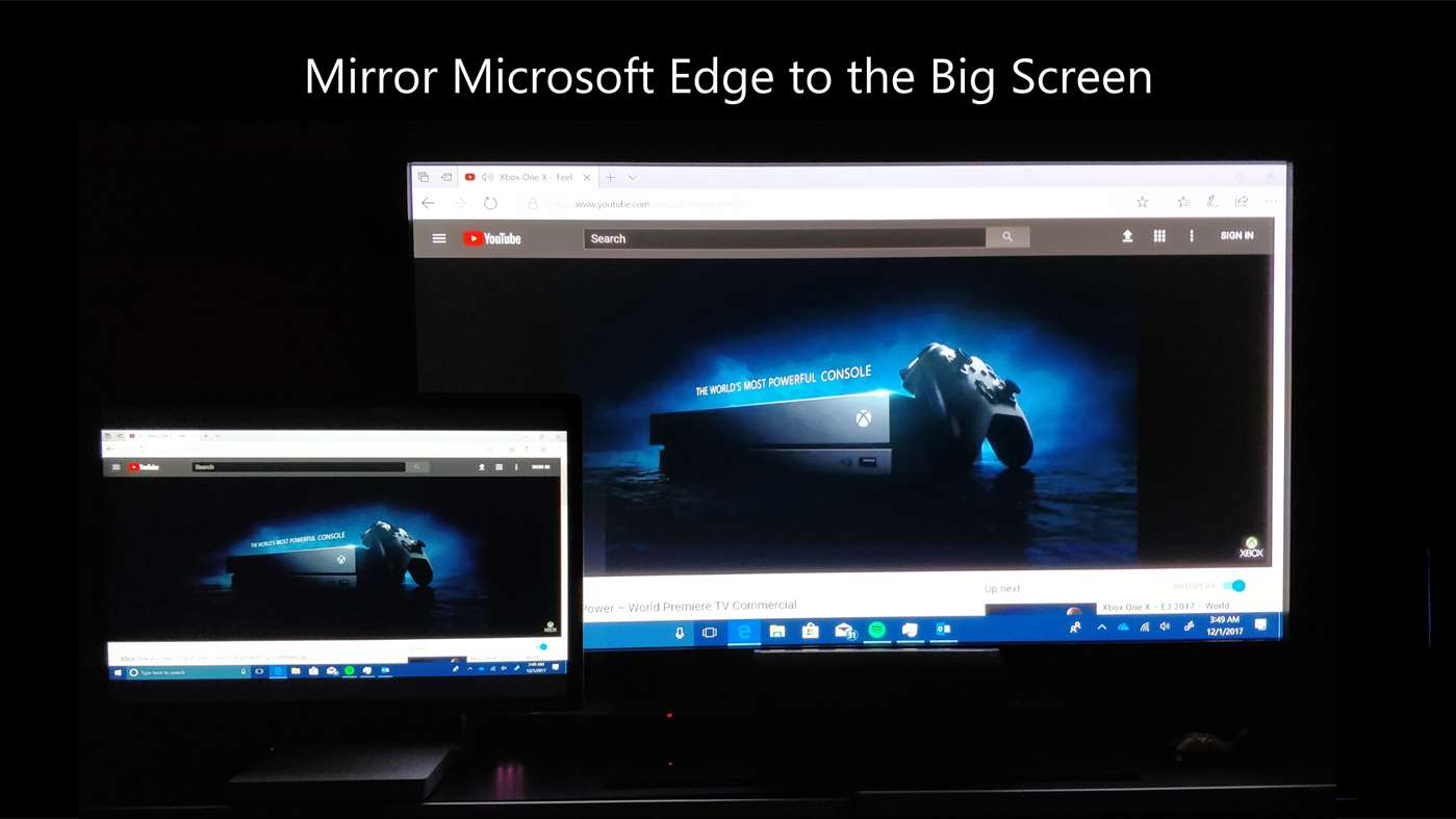 photo of microsoft edge running on Windows 10 mirroring to big screen