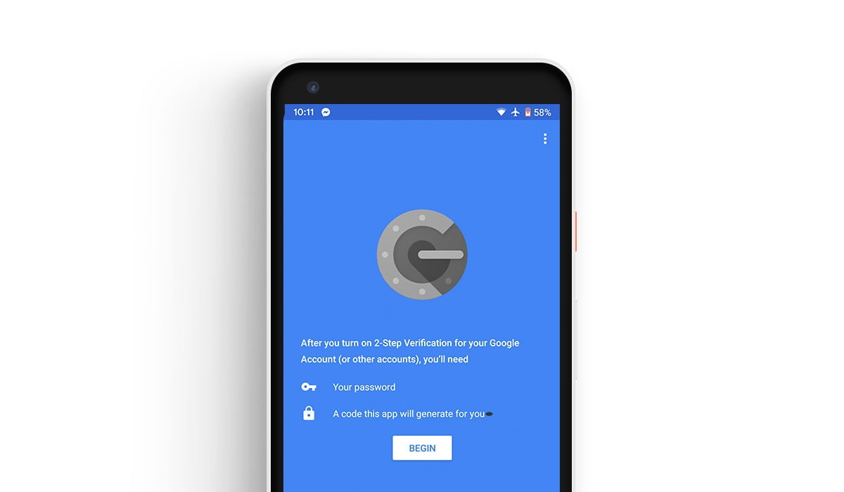 A screenshot of Google Authenticator app in a Pixel 2 XL mockup