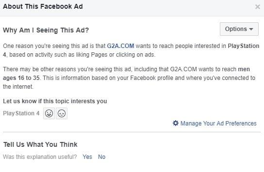 A screenshot of fb Ad info