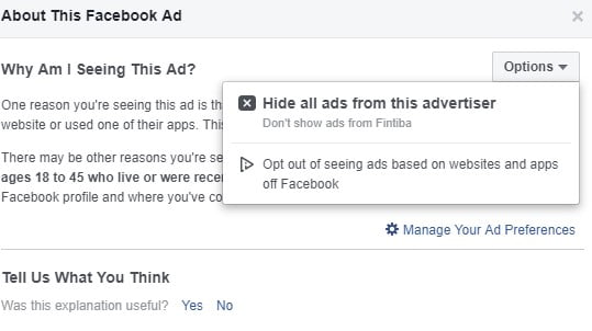A screenshot of Ad information on a fb post