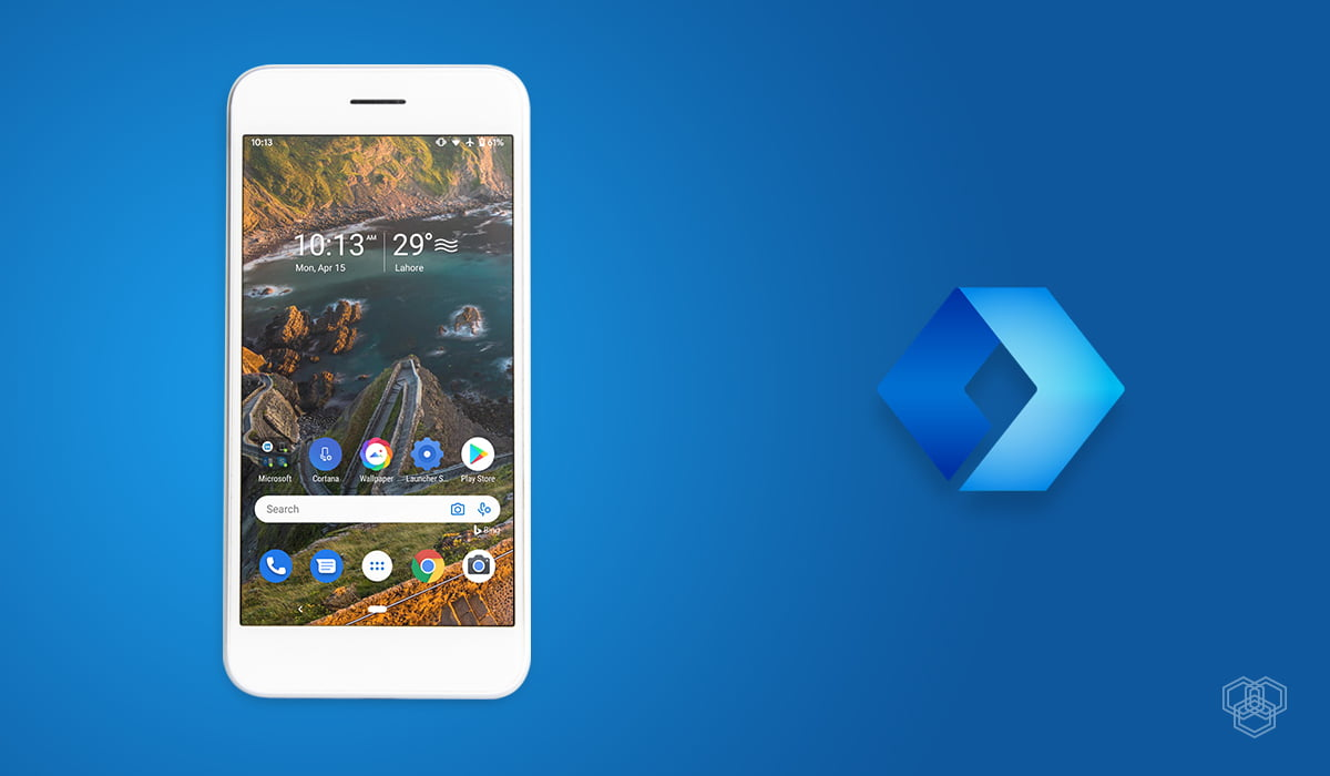 A screenshot of Microsoft launcher along with the logo