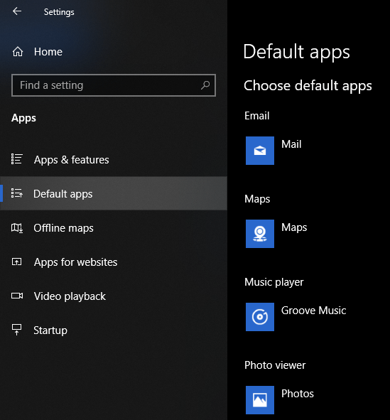default apps tab in windows 10 settings app