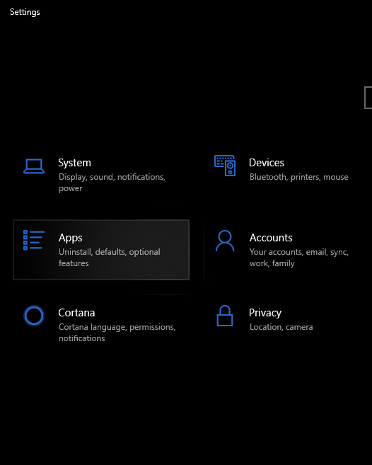 apps option in settings of windows 10