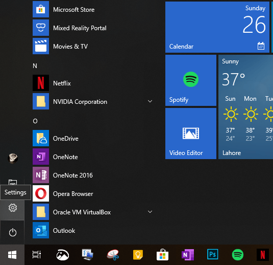 A screenshot of start menu button in Windows 10