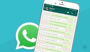 A picture with WhatsApp screenshot for deleted messages and company's logo