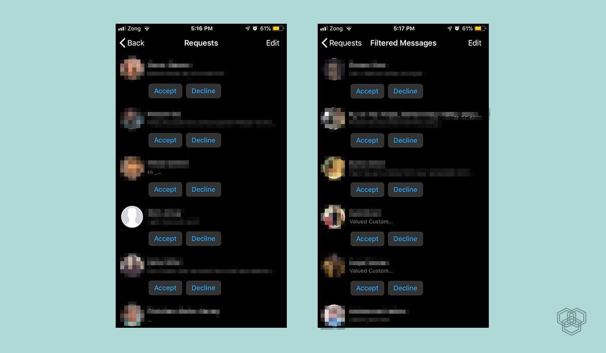 screenshots of facebook messenger message request inbox