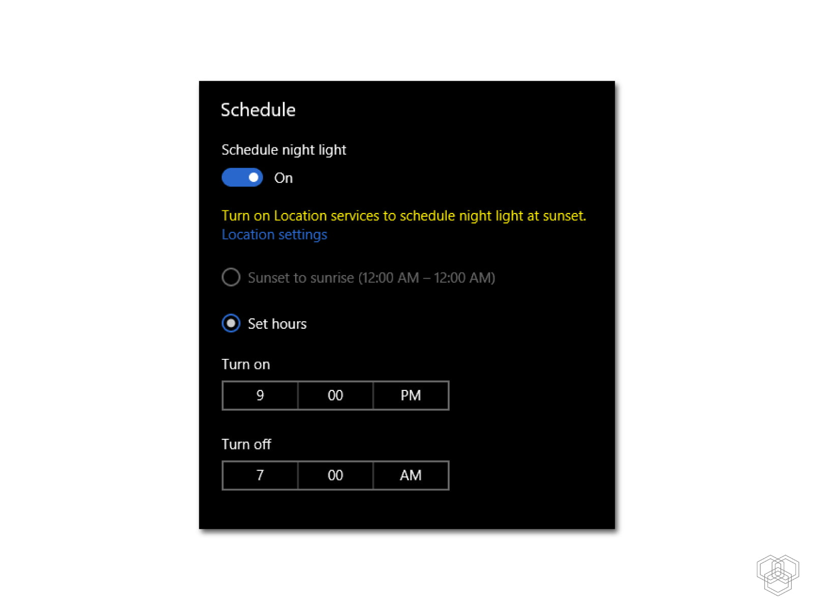 schedule night mode in windows 10