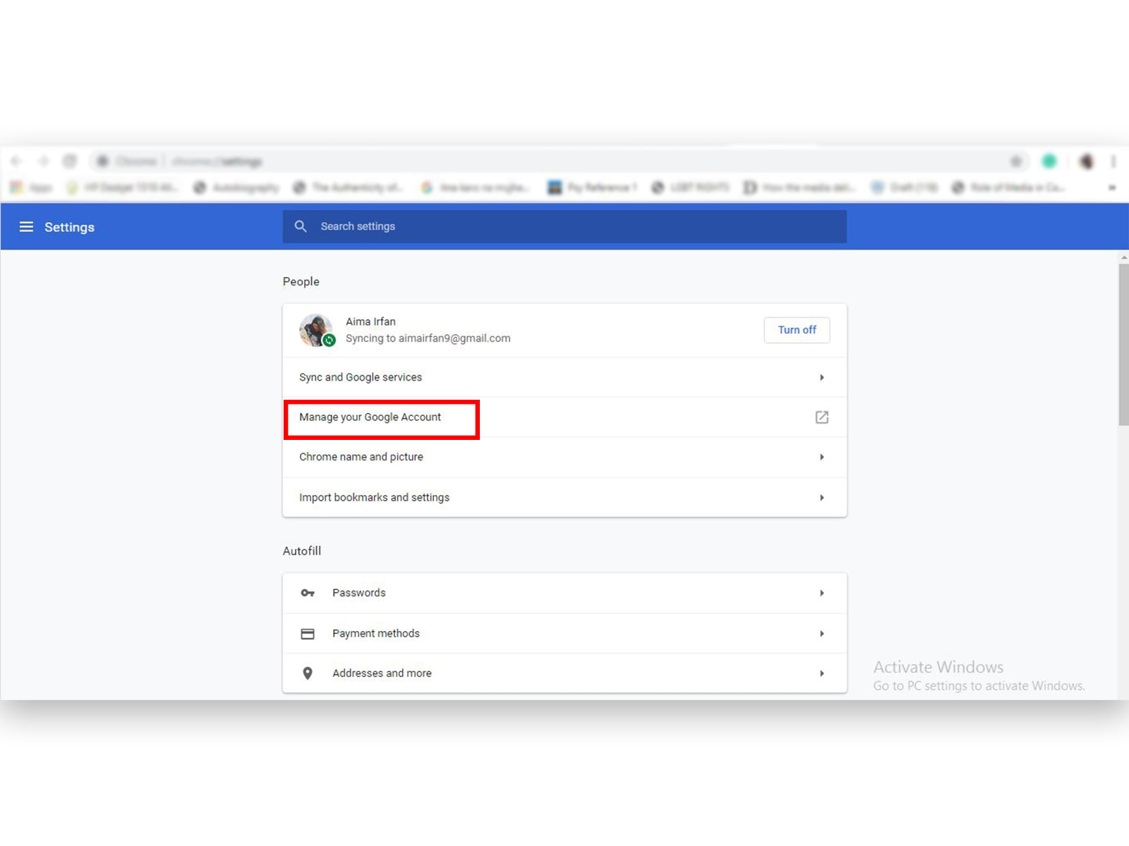 Manage your Google account page on Google Chrome