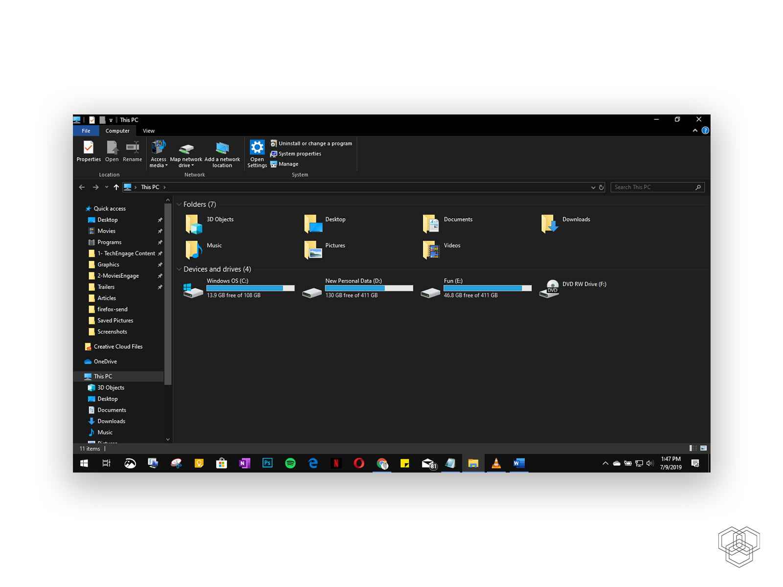 Dark mode theme in Windows 10 File Explorer