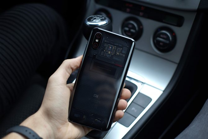 A photo of transparent Mi smartphone