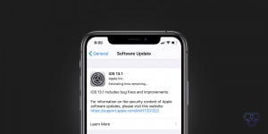 A photo of iPhone prompting iOS 13.1 update