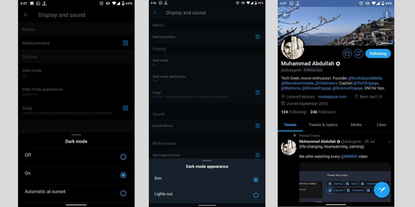Twitter lights out vs dim mode