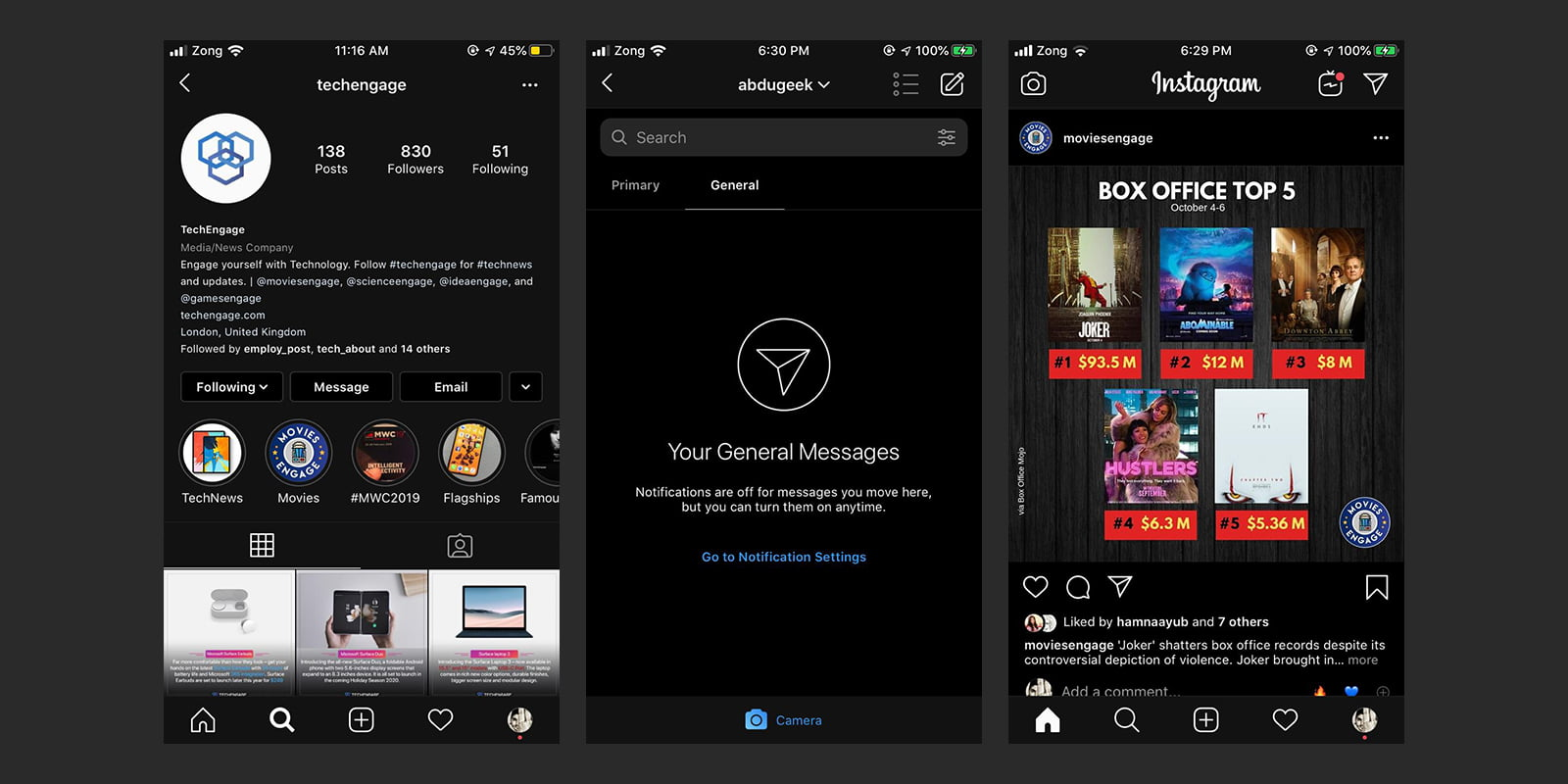 dark mode on instagram app