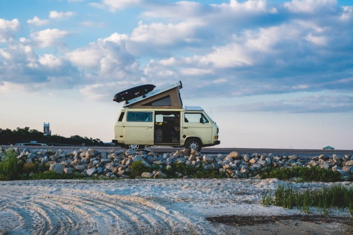 A photo of an RV(Recreational Vehicle) in the wild