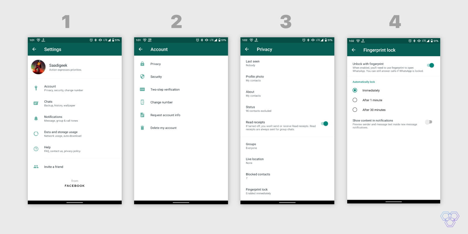 Steps for Android device to enable fingerprint unlock for WhatsApp
