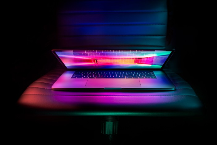A photo of Apple MacBook Pro's lid colorful
