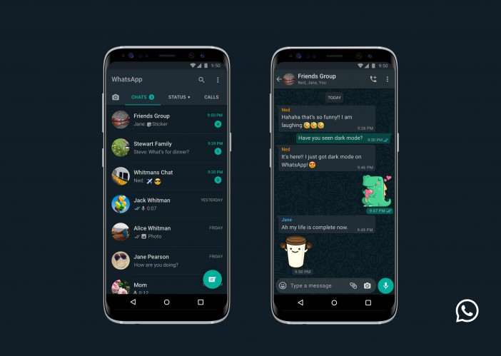 WhatsApp dark mode on Android