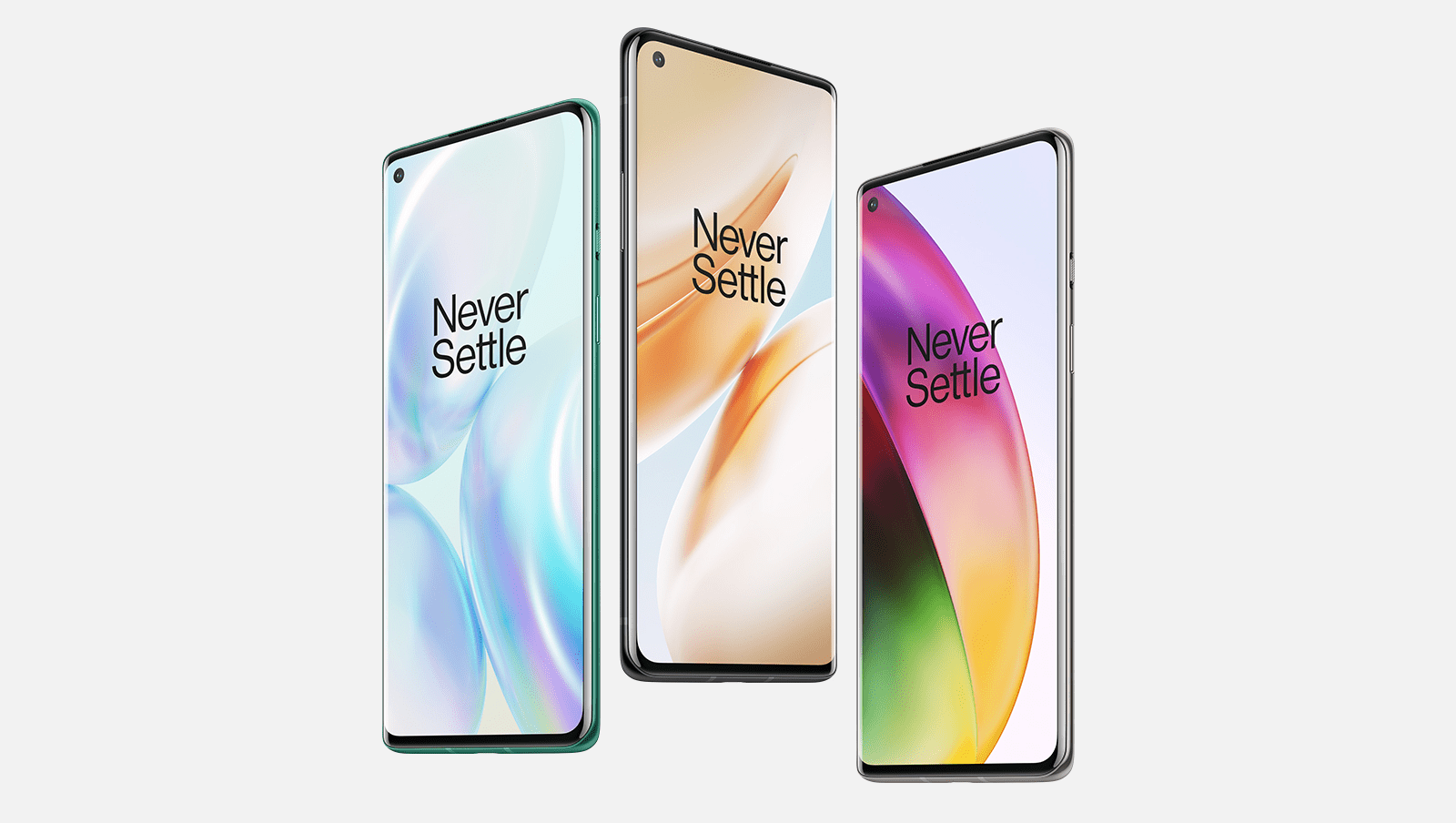 OnePlus 8 phones in different colors