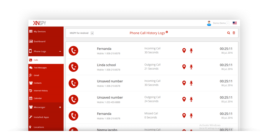 XNSPY dashboard call logs