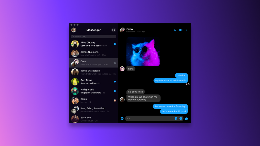 Messenger app on macOS with Dark Mode enabled
