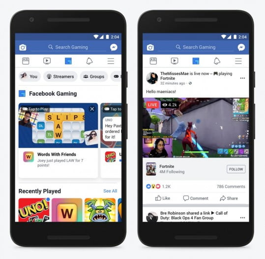 Facebook gaming tab on the main fb app