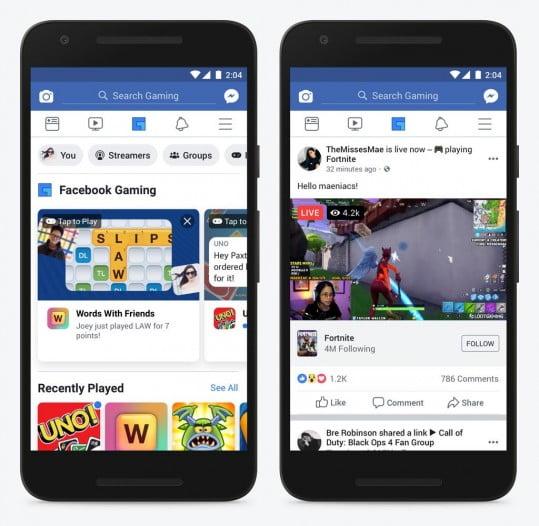 Facebook gaming tab on the main fb app