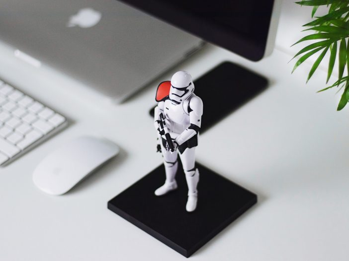 Star Wars Stormtrooper figurine on a table