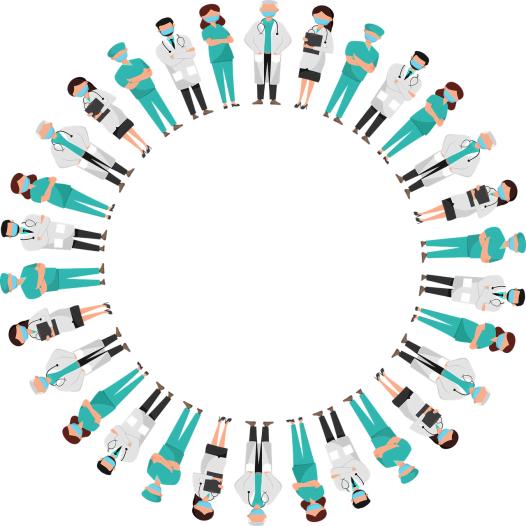Health workers standing in a circle