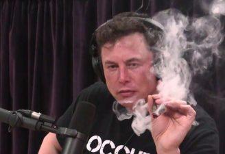 Elon Musk smoking weed on Joe Rogan show