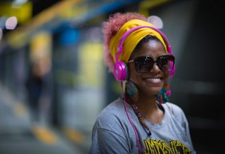 A woman wearing headphones