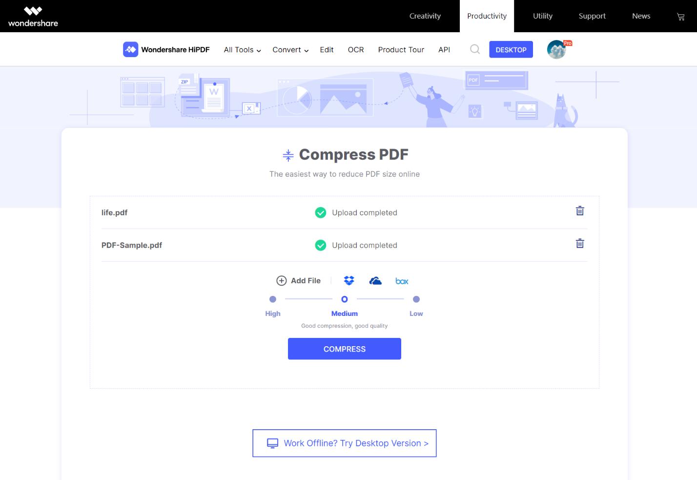 Compress PDF page
