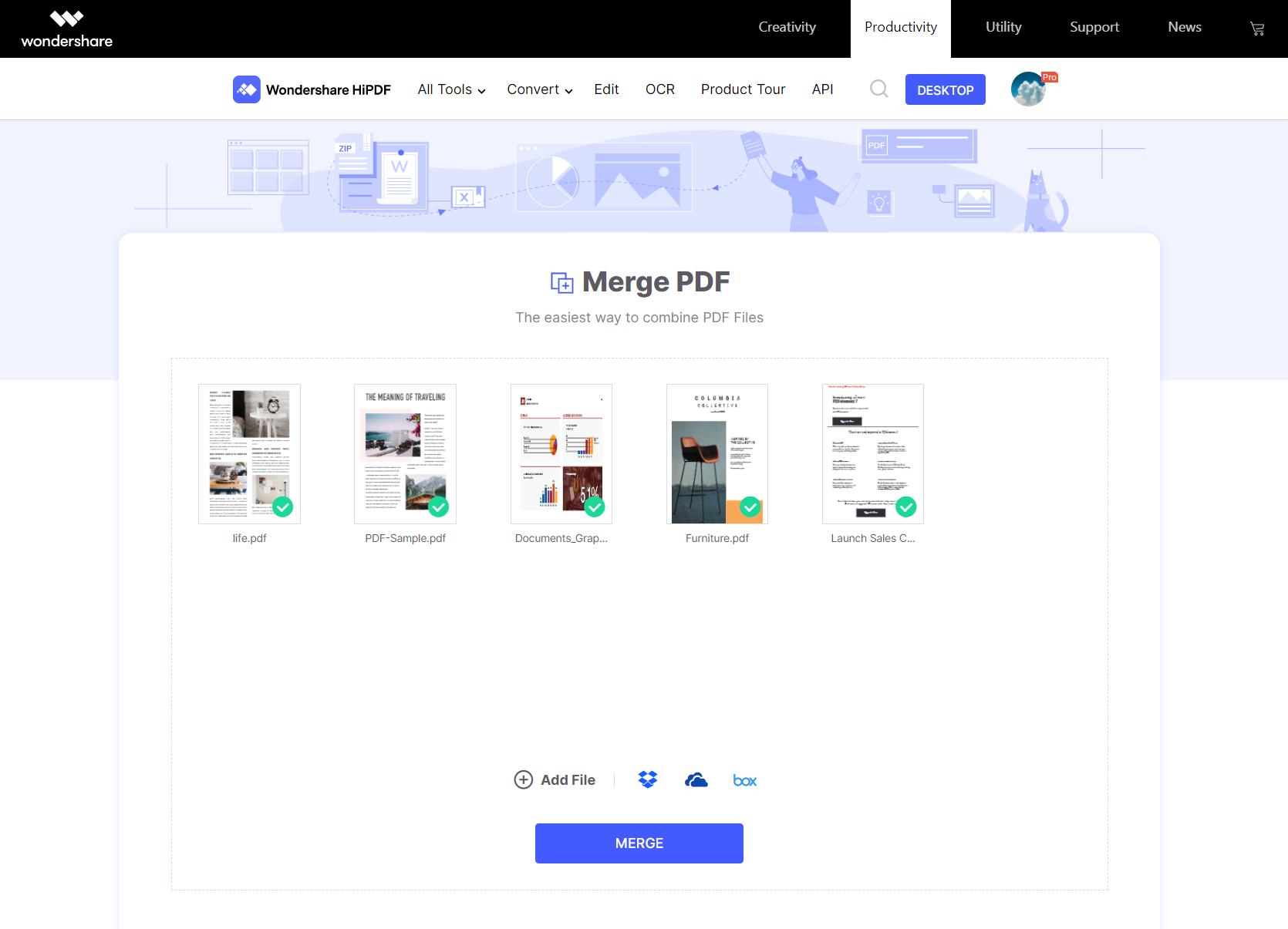 Merging PDF page