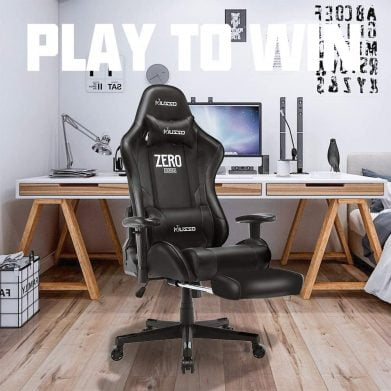 Musso Massage Gaming Chair with Footrest, Adjustable Esports Gamer Chair, Adults Racing Video Game Chair, Large Size PU Leather High-Back Executive Office Chair (Black)