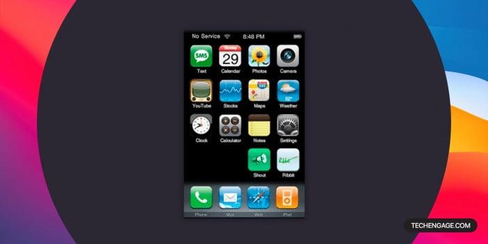 A screenshot of AIR iPhone simulator