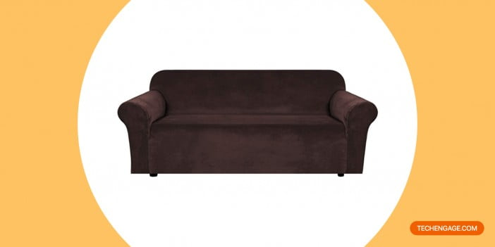 H.VERSAILTEX Stretch Velvet Sofa Covers for 3 Cushion Couch Covers Sofa Slipcovers with Non-Slip Straps Underneath The Furniture
