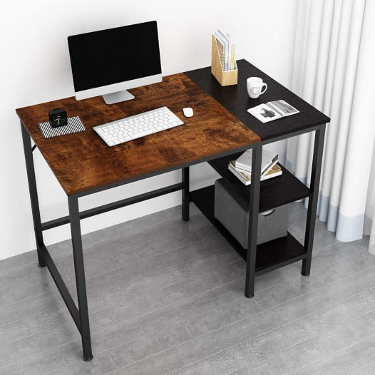JOISCOPE Home Office Computer Desk, Small Study Writing Desk with Wooden Storage Shelf