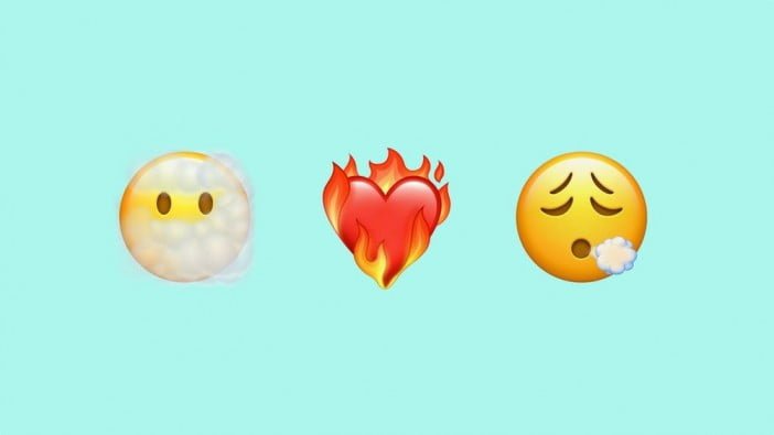 Emojis of cloudy face, burning heart and exhaled face