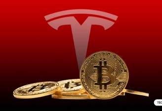An image of Tesla logo with Bitcoin