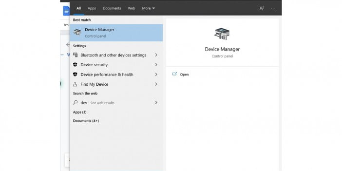 A screenshot of the device manager in search bar