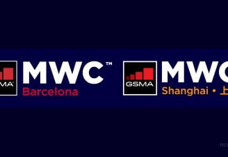 The logos of MWC Barcelona and MWC Shanghai