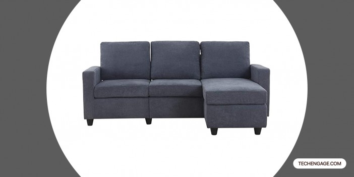 HONBAY Convertible Sectional Sofa Couch for Small Space Dark Grey