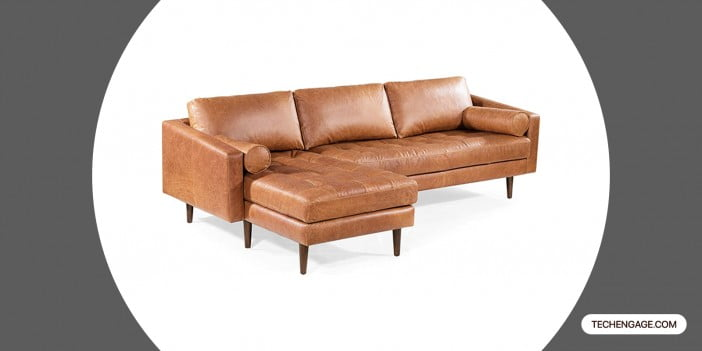 POLY & BARK Napa Left-Facing Sectional Sofa in Full-Grain Pure-Aniline Italian Tanned Leather in Cognac Tan