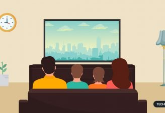 An illustration of a family sitting in home cinema, watching TV