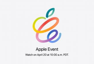 A twisted form of Apple logo for its April 20 event
